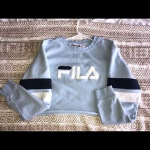 Light Blue Fila Cropped Crewneck